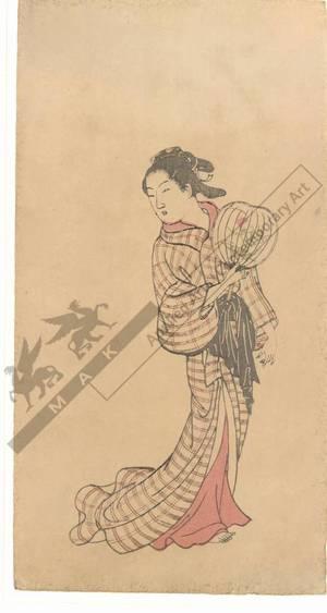 西川祐信: Woman with a fan (title not original) - Austrian Museum of Applied Arts