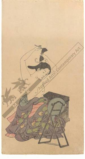 西川祐信: Woman making her hair (title not original) - Austrian Museum of Applied Arts