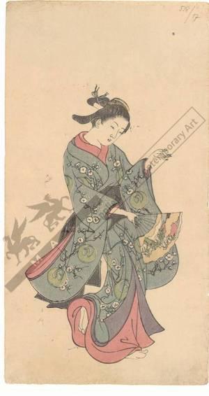 西川祐信: Dancing woman with a fan (title not original) - Austrian Museum of Applied Arts