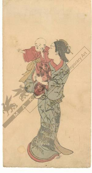 西川祐信: Woman with a baby (title not original) - Austrian Museum of Applied Arts