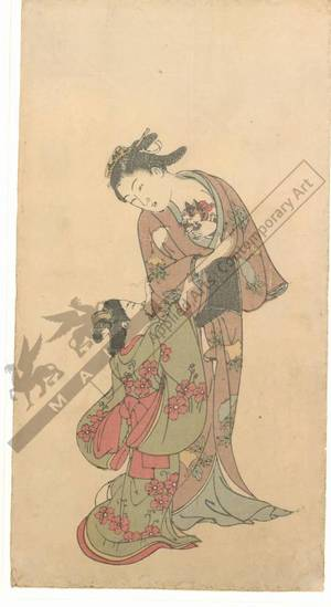 西川祐信: Woman with a cat and a little girl (title not original) - Austrian Museum of Applied Arts