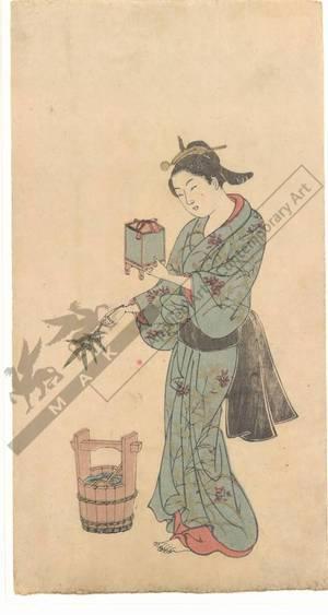 西川祐信: Woman with insect case (title not original) - Austrian Museum of Applied Arts