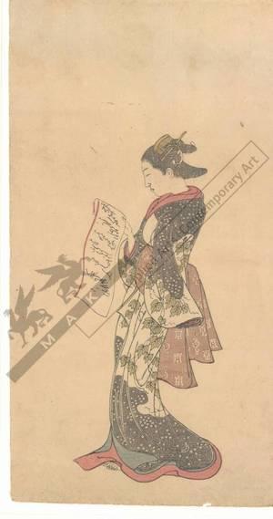 西川祐信: Woman reading a letter (title not original) - Austrian Museum of Applied Arts