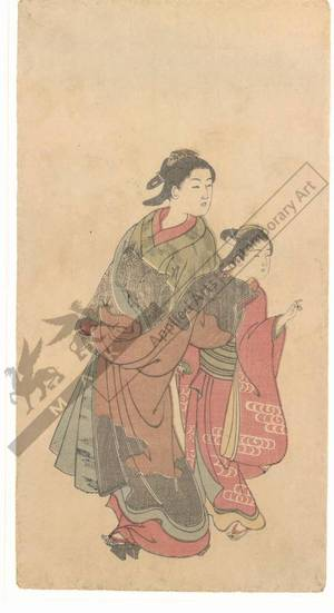 Nishikawa Sukenobu: Courtesan with kamuro (title not original) - Austrian Museum of Applied Arts