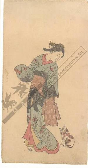 西川祐信: Woman with a cat (title not original) - Austrian Museum of Applied Arts