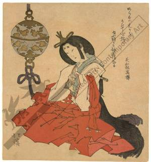 Totoya Hokkei: Noblewoman with incense burner (title not original) - Austrian Museum of Applied Arts