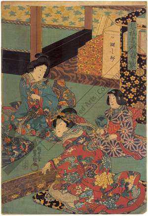 Utagawa Kunisada: Playing koto - Austrian Museum of Applied Arts