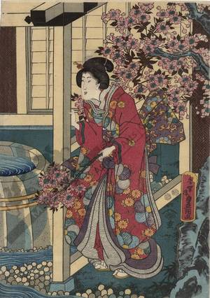 Utagawa Kunisada: Bath at Akashi - Austrian Museum of Applied Arts