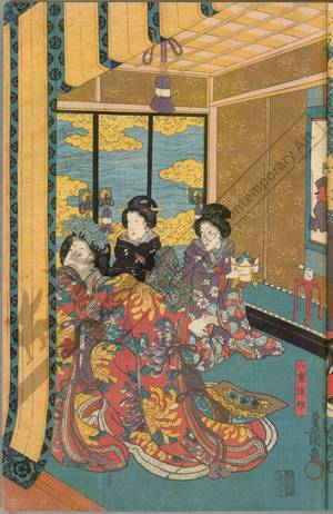 歌川国貞: Katsuyori at the Nagao palace (title not original) - Austrian Museum of Applied Arts