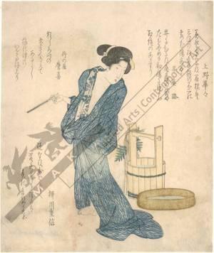 柳川重信: Woman coming from the bath (title not original) - Austrian Museum of Applied Arts