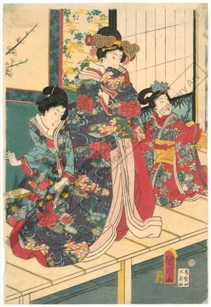 Utagawa Kuniaki: Noble pair with servants on the veranda (title not original) - Austrian Museum of Applied Arts