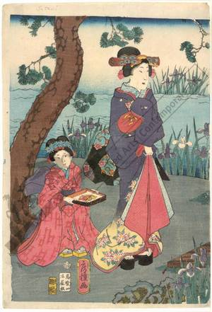 Utagawa Fusatane: The Shining Prince with companions at the Yatsu bridge - Austrian Museum of Applied Arts