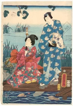 歌川房種: The Shining Prince with companions at the Yatsu bridge - Austrian Museum of Applied Arts