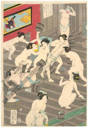 Ochiai Yoshiiku: Competition of slender white hips in the willow bathhouse - Austrian Museum of Applied Arts