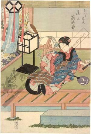 Shunshosai Hokucho: Onoe Kikugoro as the revengeful ghost Oiwa - Austrian Museum of Applied Arts