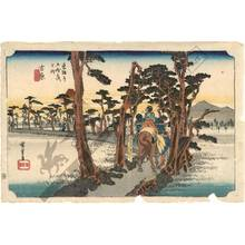 歌川広重: Yoshiwara: Mount fuji on the left side (Station 14, Print 15) - Austrian Museum of Applied Arts