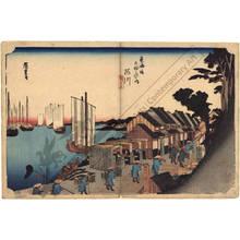 歌川広重: Shinagawa: Daimyo's departure (station 1, print 2) - Austrian Museum of Applied Arts