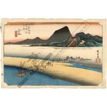 歌川広重: Kanaya: The distant bank of the Oi river (station 24, print 25) - Austrian Museum of Applied Arts