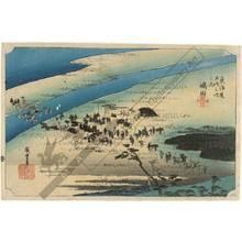Utagawa Hiroshige: Shimada: The Sungan-Bank at the Oi river (station 23, print 24) - Austrian Museum of Applied Arts