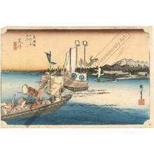 Utagawa Hiroshige: Arai: Ferryboats (station 31, print 32) - Austrian Museum of Applied Arts
