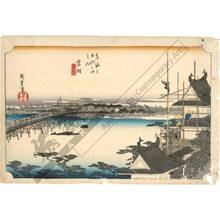 歌川広重: Yoshida: The Toyokawa bridge (Station 34, Print 35) - Austrian Museum of Applied Arts