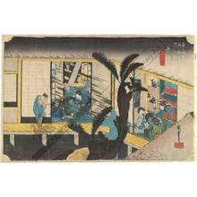 Utagawa Hiroshige: Akasaka: Hostesses at an inn (station 36, print 37) - Austrian Museum of Applied Arts