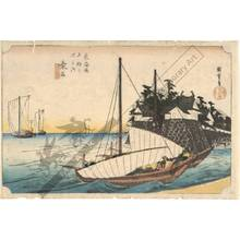 Utagawa Hiroshige: Kuwana: Landing entry of the Shichiri ferry (Station 42, Print 43) - Austrian Museum of Applied Arts