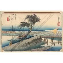 歌川広重: Yokkaichi: The Mie-river (station 43, print 44) - Austrian Museum of Applied Arts