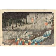 歌川広重: Tsuchiyama: Spring rain (station 49, print 50) - Austrian Museum of Applied Arts