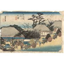 歌川広重: Otsu: The Hashirii-teahouse (station 53, print 54) - Austrian Museum of Applied Arts