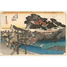 歌川広重: Fujisawa: The Yugyo temple (station 6, print 7) - Austrian Museum of Applied Arts