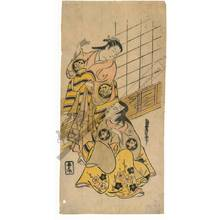 "Torii Kiyonobu II: A ""hair combing"" scene between Ichimura Takenojo and Sanjo Kantaro (title not original) - Austrian Museum of Applied Arts"
