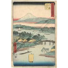 Utagawa Hiroshige: Print 3: Kawasaki, The village of Namamugi along the Tsurumi river (Station 2) - Austrian Museum of Applied Arts