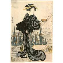 Utagawa Yasugoro: Women on the Yatsu bridge (title not original) - Austrian Museum of Applied Arts