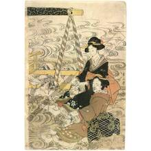 Kikugawa Eizan: Crossing the river in a sedan-chair (title not original) - Austrian Museum of Applied Arts