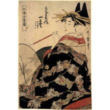 Kitagawa Utamaro: Courtesan Hitomoto and Kamuro Senkaku and Banki from the Daimonji house - Austrian Museum of Applied Arts