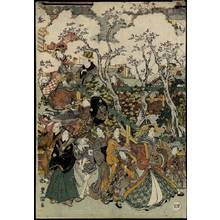 歌川豊国: Scenery with cherry blossoms in New Yoshiwara, Set of five prints - Austrian Museum of Applied Arts