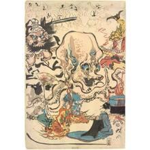 河鍋暁斎: Comic manifold worship of buddha - Austrian Museum of Applied Arts