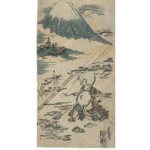 Nishimura Shigenaga: Saigyo viewing Mount Fuji (title not original) - Austrian Museum of Applied Arts