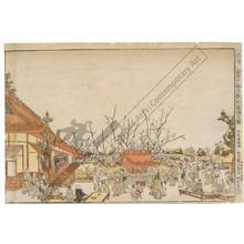 Kitao Shigemasa: Perspective image, The Garyo Plumtree in the Plumtree-garden at Kameido - Austrian Museum of Applied Arts