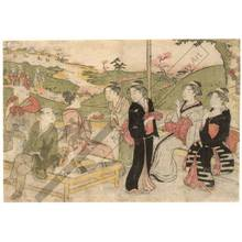 勝川春潮: Viewing cherry blossoms (title not original) - Austrian Museum of Applied Arts