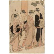 Torii Kiyonaga: Marriage aspirants befor a shrine (title not original) - Austrian Museum of Applied Arts