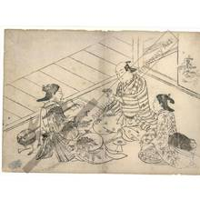 西川祐信: Courtesans with customer (title not original) - Austrian Museum of Applied Arts