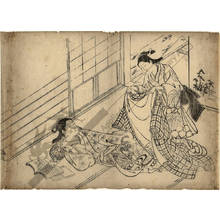 西川祐信: Young girl covering a woman with a kimono (title not original) - Austrian Museum of Applied Arts