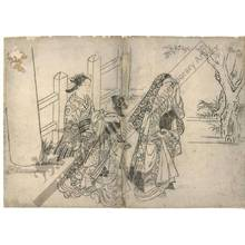 西川祐信: Women visiting a shrine (title not original) - Austrian Museum of Applied Arts