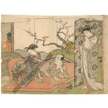 鈴木春信: Two lovers drinking sake (title not original) - Austrian Museum of Applied Arts