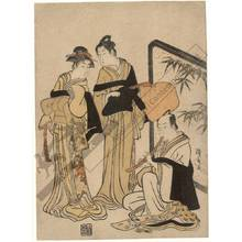 鳥居清長: Three itinerant monks (title not original) - Austrian Museum of Applied Arts