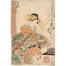 二代目鳥居清満: Courtesan Shinohara from the Tsuru house on Kyo street - Austrian Museum of Applied Arts