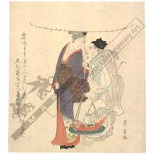 Utagawa Toyohiro: Lucky Gods Benten and Ebisu (title not original) - Austrian Museum of Applied Arts