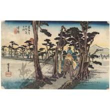 Utagawa Hiroshige: Yoshiwara: Mount fuji on the left side (station 14, print 15) - Austrian Museum of Applied Arts